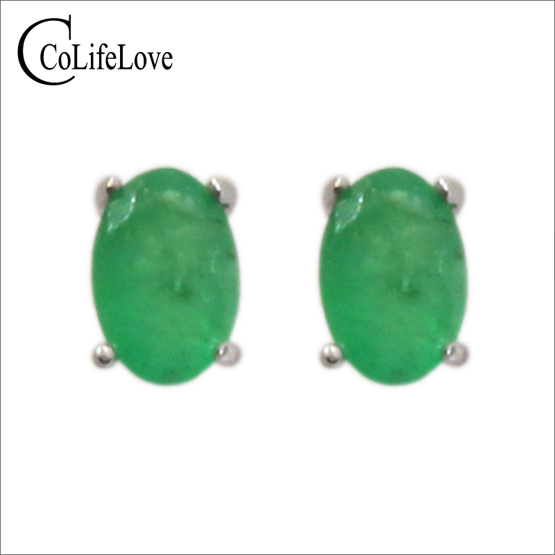 Simple Design Emerald Stud Earrings 4 Mm * 6 Mm Natural I Grade Emerald Earrings Classic 925 Silver Emerald Earrings For Woman