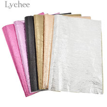 Lychee 29x21cm A4 Faux Leather Crack Metallic Fabric High Quality Synthetic Leather DIY Material For Handbag Garments(China)