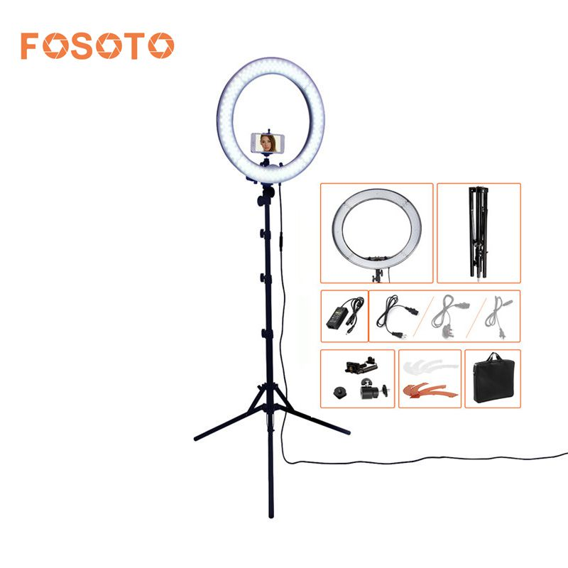 FOSOTO RL-18 photography lighting Dimmable 240 LEDs 55W 5500K Camera Photo Studio Phone Video Ring Light Lamp With Tripod Stand fosoto rl 18 55w 5500k 240 led photographic lighting dimmable camera photo studio phone photography ring light lamp