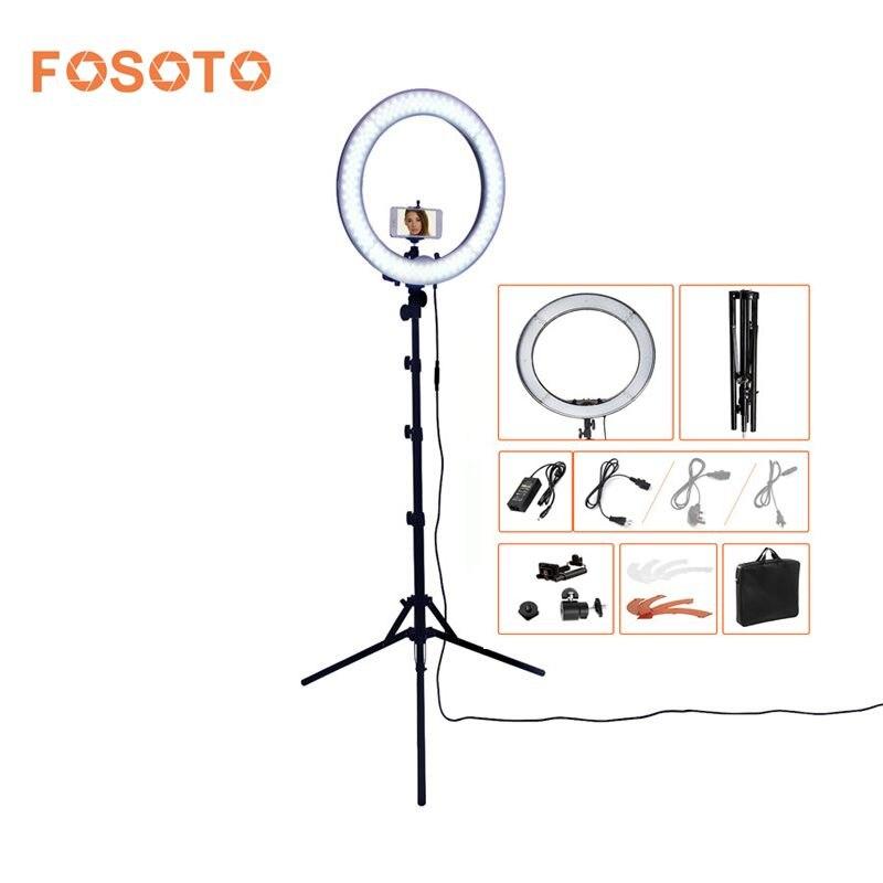 Fosoto RL-18 photographie éclairage Dimmable 240 LEDs 55 w 5500 k Caméra Photo Studio Téléphone Vidéo Light Ring Lamp Avec trépied Stand