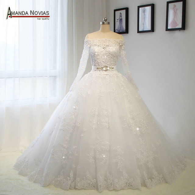 Off The Shoulder Long Sleeves Lace Wedding Dress Plus Size Customer ...