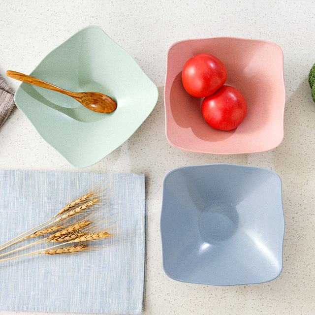 Kitchen Supplies Modern Colorful Plastic Fruit Plate Home Decor Eco Friendly  Square Dish Plates Snacks