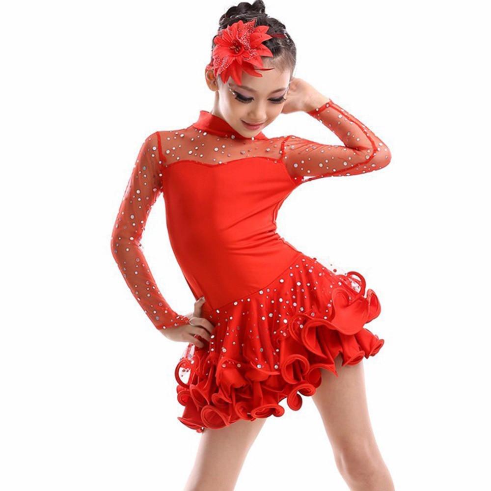 2018 New Girls Dance Kostym Långärmad Vestido De Baile Latino Rose / Röd / Svart / Gul Dans Latin Klänningar Enfeites Para Quarto