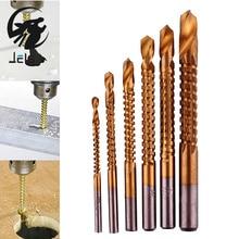 Jelbo зенковки сверло 6 шт. drill power tools скорость metal titanium покрытием сверла hss биты увидел пластичный металл отверстие