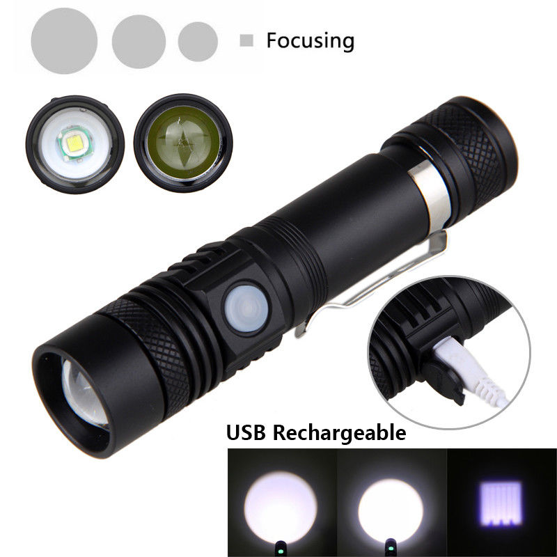 Portabale Mini Size LED Flashlight Torch Zoom Focus 2000LM Tactical Flash Light with USB Line for Camping Hunting 18650battery