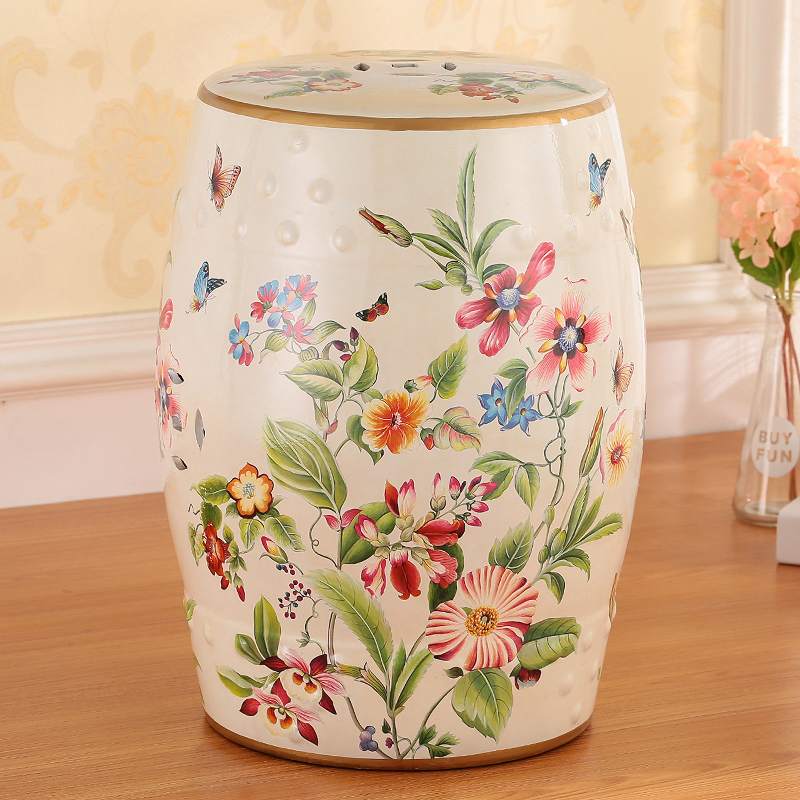 Delicate Butterfly And Flower Design Chinese Ceramic Porcelain Colorful Stool Seat