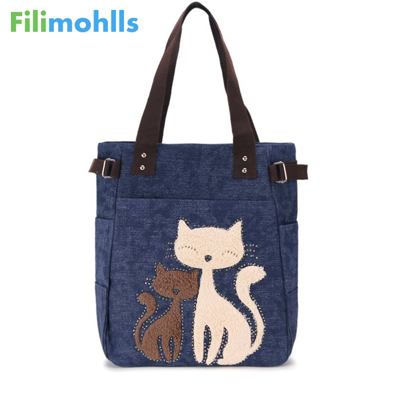 Lovely Cute Cat Canvas Handbag For Girls Ladies Large Capacity Casual Bag Women Portable Solid Zipper Shoulder Bag Bolsos S1798