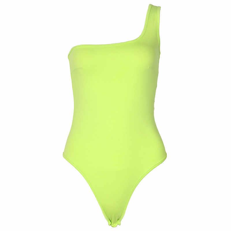Mujer, боди на одно плечо, цельные костюмы с наклонной горловиной, модные однотонные Клубные комбинезоны, женские неоновые зеленые сексуальные боди, Летний комбинезон M0046