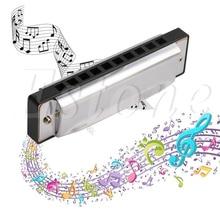 Blues Гармоника 10 Отверстия Ключ C музыкальный инструмент Нержавеющая сталь с Чехол