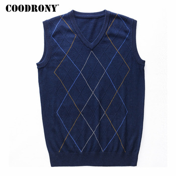 COODRONY Casual Argyle V-Neck Sleeveless Vest Men Clothes 2020 Autumn Winter New Arrival Knitted Cashmere Wool Sweater Vest 8174 1