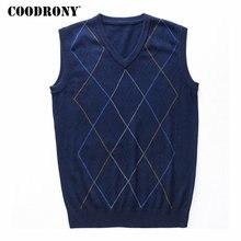 COODRONY Casual Argyle V Neck เสื้อกั๊กเสื้อผ้าผู้ชาย 2020 ฤดูใบไม้ร่วงฤดูหนาวมาใหม่ถักผ้าขนสัตว์ชนิดหนึ่งเสื้อกันหนาว 8174