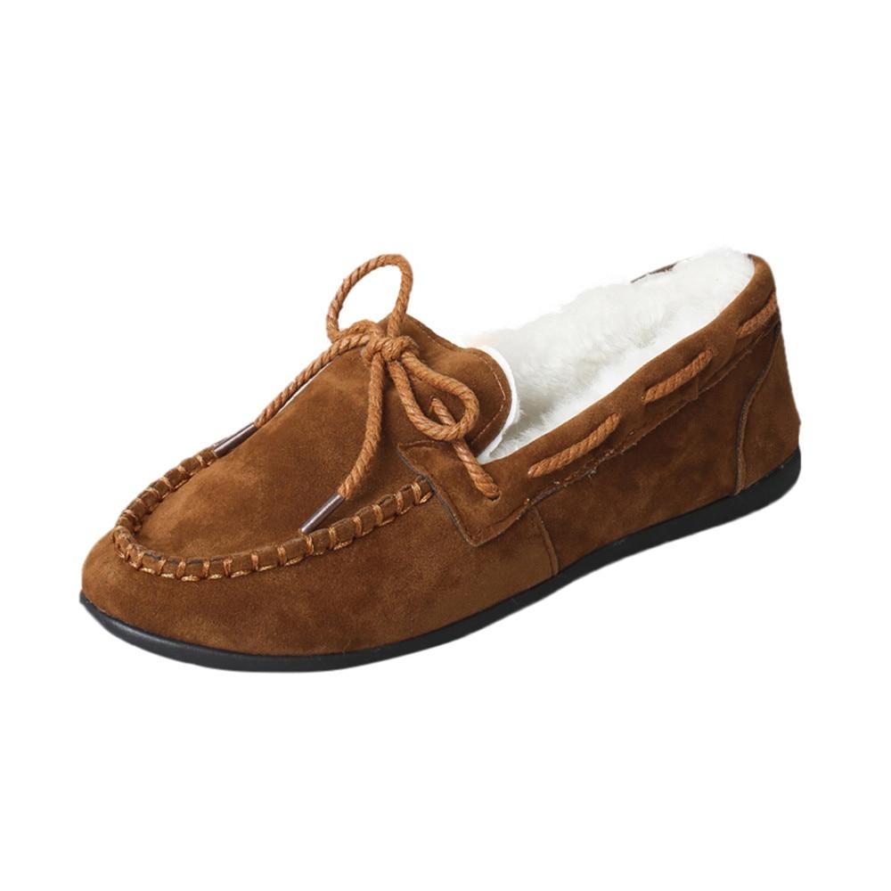 цена на Winter Fur Women Loafers Slip-on Leather Ladies Flats Warm Plush Boat Peas Shoes Woman Moccasins New Casual Female Solid Shoe