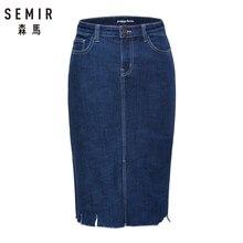 SEMIR Women Denim Pencil Skirt in Cotton Blend with Raw-edge