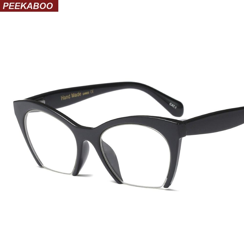 6ec0796d4b Peekaboo fashion cat eye glasses frames optical women 2019 womens retro  oversized eyeglasses half frame transparent