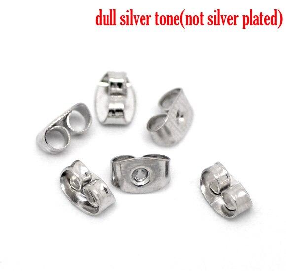 Earring Findings Ear Nuts Post Stopper Bowknot Silver Tone 6mm( 2/8