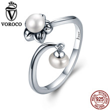 VOROCO Pure 925 Sterling Silver Rings for Women Flower Double Pearls Adjustable Open Ring Engagement Wedding Fine Jewelry