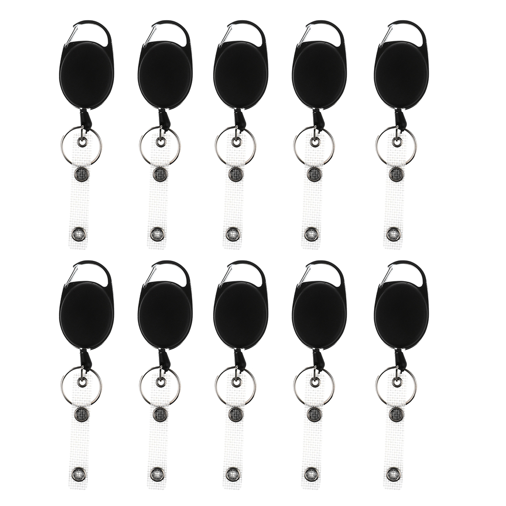 10 Pieces ID Cards/Key Retractable Clip Keychain Key Ring Pull Reel Key Chain ...