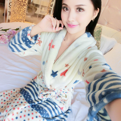 77f8853acb Dropwow Thickening Flannel Winter Robe Sexy Robes For Women Bathrobe ...