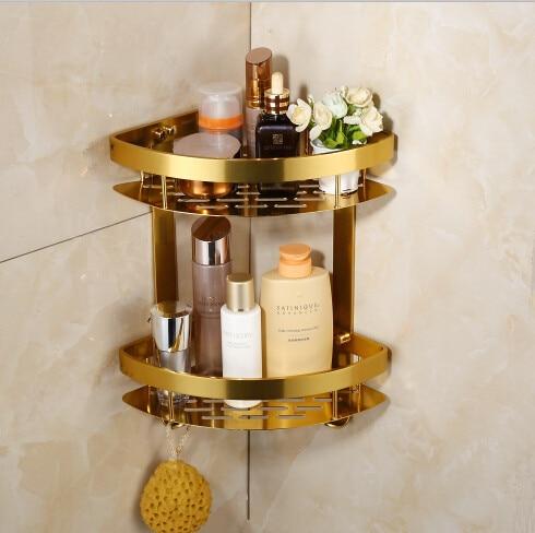 Space Aluminum Golden Bathroom Corner Shelf Wall Soap Shelf Bath Shelves  Shower Room Holder Bathroom Products