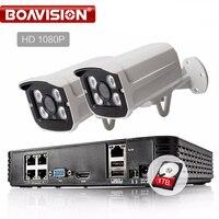HD 4CH 1080P POE NVR Kit CCTV System 2Pcs 1080P 2 0MP IP Camera IR Outdoor