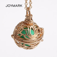 12pcs/lot Lotus Flower Pattern Hollow Cage Locket Musical Sound Ball Pendant Long Chain Bola Baby Pregnant Necklace HCPN01(China)