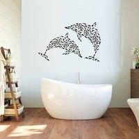 Yani Birçok Balık Yunuslar Duvar Çıkartması Vinil Çıkarılabilir Duvar Sticker Banyo Için Su Geçirmez Deniz Hayvanlar Sanat Mural Ev Dekor