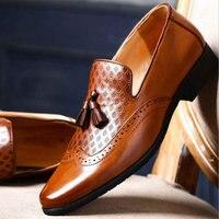 luxury brand fashion elegant oxford shoes for men leather italian formal dress office footwear Black mens tassel shoes LE 05