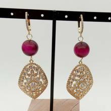 Round Fuchsia 14mm Tiger Eye Cz pave Golden Plated Lever back Earrings(China)