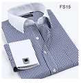 Striped Twill Shirt Men  French Cuff Long Sleeve Mens Dress Shirts Slim Fit  Business 2016 Spring New Male Blouse Plus Size