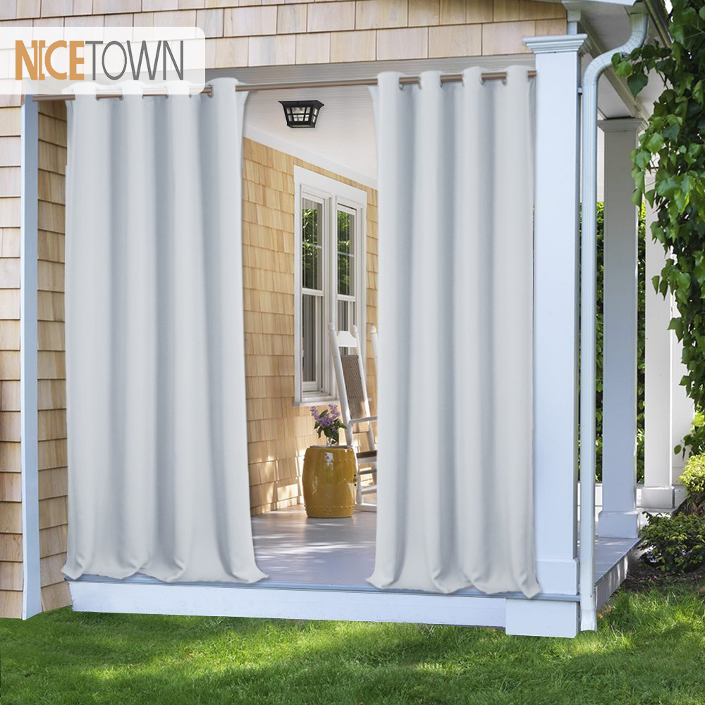 NICETOWN 7 Colors Outdoor Curtain Drape Blackout Light Blocking Fade Resistant With Grommet Rust-Proof For Porch&Beach&Patio(China)