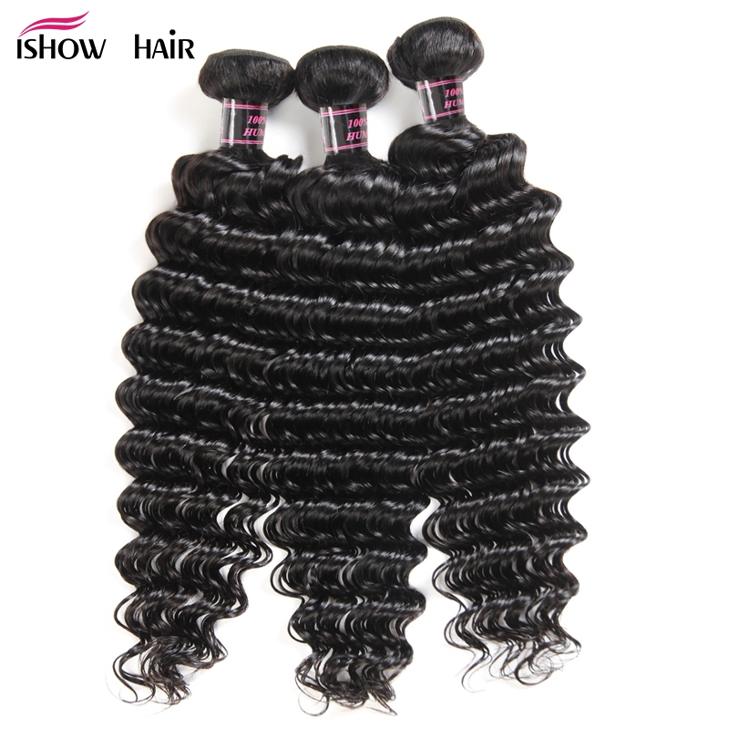 Ishow Hair 3 Bundles Brazilian Deep Wave Human Hair Weave Bundles 300g For Full Head Natural