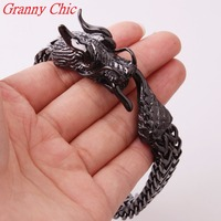 Granny Chic 9*12MM Cool Titanium stainless steel jewelry Casting Classic fashion Men's Dragon Clasp Black Color Biker Bracelet
