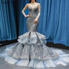 Robe de mariée luxueuse et Sexy gris foncé avec paillettes, modèle sirène, sur mesure, modèle dubaï, modèle 2020