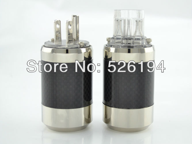 Free shipping one pair Rhodium Plated US Mains Power Plug Carbon Fiber Connector Cable Cord free shipping one pieces sonar quest carbon fiber silver plated eu power plug