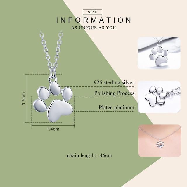 BAMOER Genuine 925 Sterling Silver Cute Animal Footprints Dog Cat Footprints Paw Pendant Necklaces 2