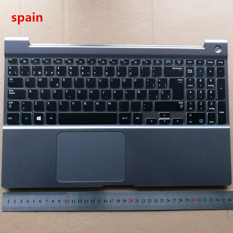 Spain layout backlit  new laptop keyboard with touchpad palmrest for samsung NP 700Z5A 700Z5B SP  BA75-03510D genuine new for lenovo thinkpad x1 helix 2nd 20cg 20ch ultrabook pro keyboard us layout backlit palmrest cover big enter