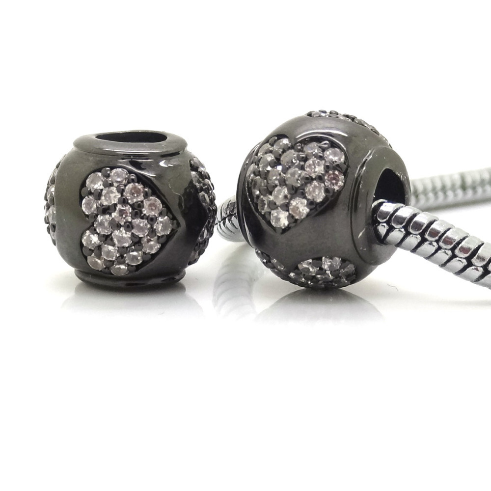 Pandora Jewelry Free Shipping: Free Shipping Authentic Black Plated Love Heart Micro Pave