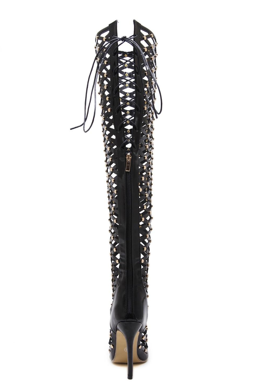 Arrivée Sandales up Hauts Lace Femmes Peep Noir Talons 2018 Nouvelle Mince Toe Chaussures Casual Pu Femme Sexy 5wUnHvq