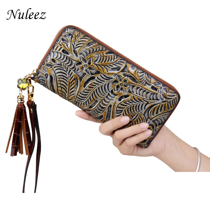 Nuleez genuine cow leather wallet women hand carving floral vintage purse perfect and fashion 2018 new футболка wrangler wrangler wr224ewvhj45