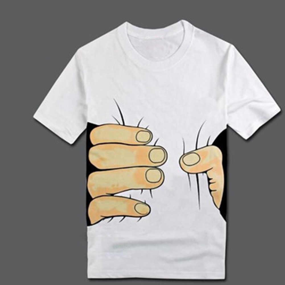 Gorąca sprzedaż 3D duże ręcznie drukowane i wzór kości T-Shirt mężczyźni ubrania 3D wizualne osobowość twórcza T Shirt na co dzień z krótkim rękawem