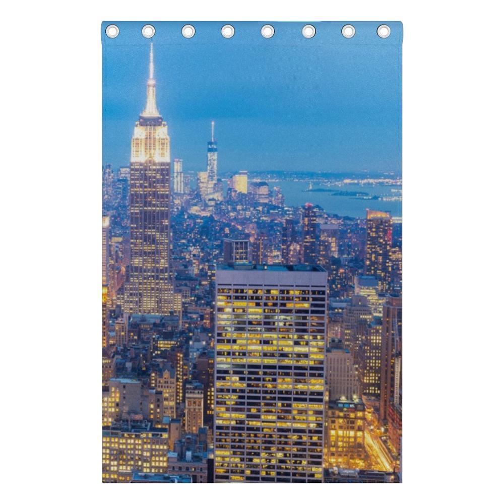 New York City Wolkenkrabbers Dusk Gordijn Gordijnen Panelen ...