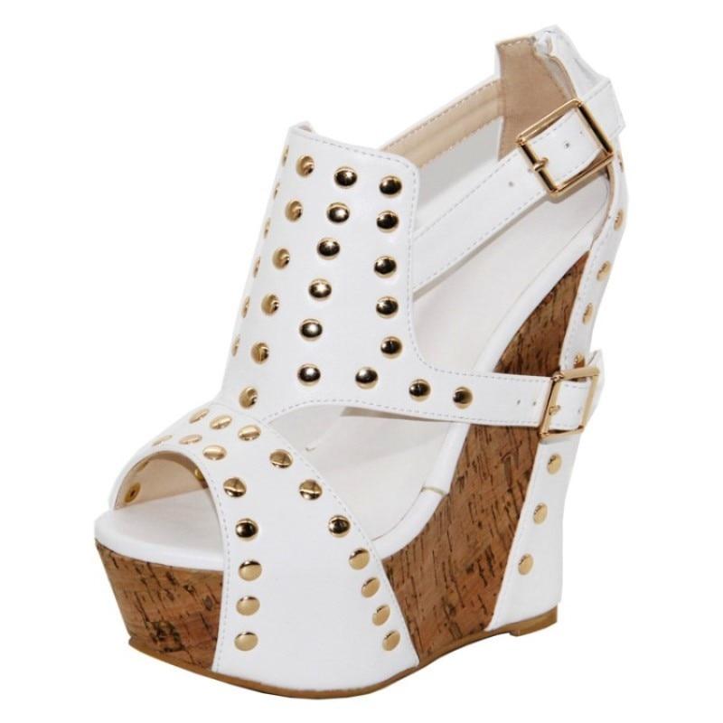 a888c222d8a 2018 Fashion Free Mail, Leather Fabric, Rivet Decorating, 14. 5 Cm Wedges  Sandals, Women'S Sandals.SIZE:34 45 Cheap Shoes For Women Buy Shoes Online  ...