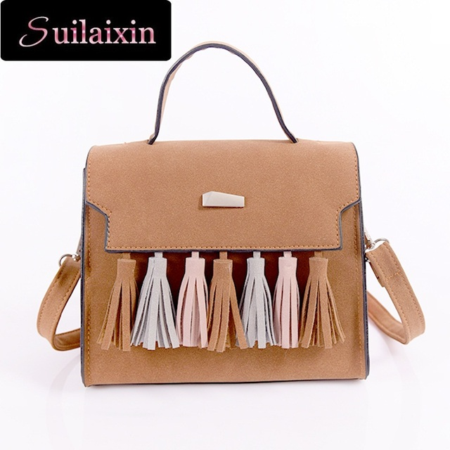SUILAIXIN Women Brand Famous Leather Suede Handbags Vintage Casual Large All-match Tassel Scrub Flap Shoulder Bag High Quality