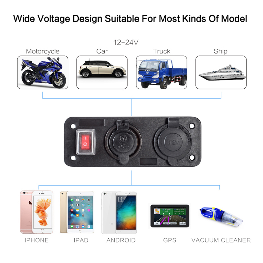 12/24V 5V/4 2A Car Charger Waterproof Motorcycle Plug Dual USB Adaptor +  Voltage + Cigarette Lighter Socket Cigarette Charger