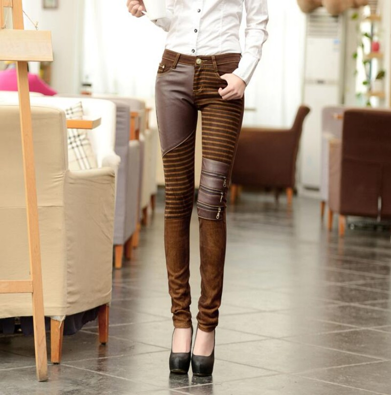 e151941ee42b3 Womens PU Leather Denim Stitching Motorcycle Pants Sexy Women Faux Leather  Slim Skinny Trousers Fake Zipped Stretch Leggings