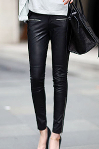 NEW women brand fashion slim Spring autumn leather matte fashion casual pants female zipper pants tight boot cut jeans / 27-29