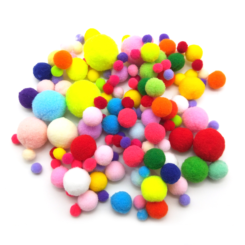 WISHMETYOU 100pcs 8MM 30MM Colorful Fluffy Pom Pom Ball Soft Balls Crafts For Kids Diy Christmas Toys Decor Home Party Supplies in DIY Craft Supplies from Home Garden