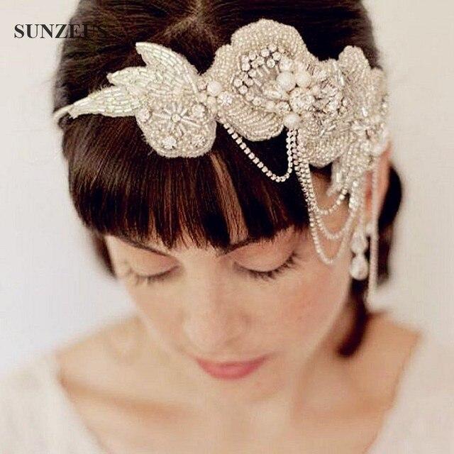 اكسسوارات الزفاف الفاخرة الماس أحزمة الوشاح يدوية الصنع أزياء مطرز خوذة الزفاف SQ042