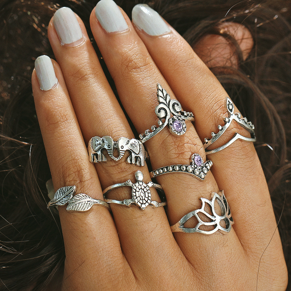 Online get cheap color lotus flower aliexpress alibaba group cloaccd vintage 7pcsset silver color hollow lotus flower crystal midi rings set for women dhlflorist Image collections