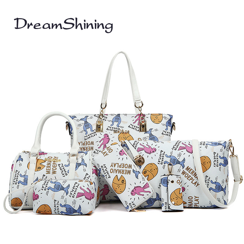ФОТО Dream Shining Korean Style Woman Handbag Letter Pattern High Capacity Shoulder Bag PU Material Fashion Six Sets Messenger Bag